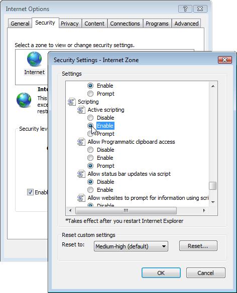 Enabling JavaScript in Internet Explorer 7 & 8