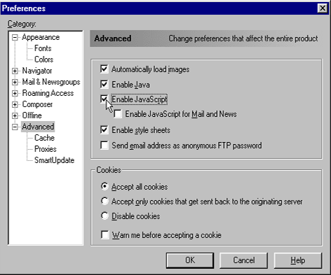 Enabling JavaScript in Netscape 4.x & 6.x