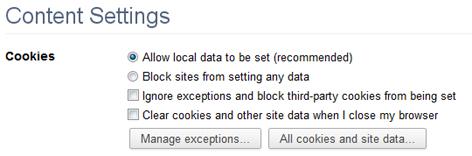 Enabling Cookies in Google Chrome 10-11