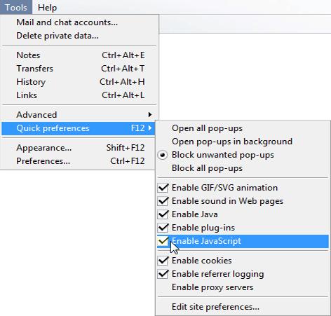 Enabling JavaScript in Opera